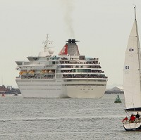 The Balmoral cruise ship leaves Southampton for the official Titanic centenary voyage