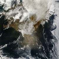 The ash plume over Grimsvotn - Image courtesy of NASA