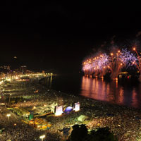 Rio de Janeiro sees in the New Year with the help of two million revellers.