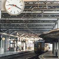 A train stands still at a deserted platform at the Brussels South train station on Wednesday