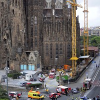 The scene after a fire broke out inside the Sagrada Familia basilica in Barcelona (AP)