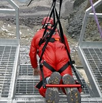 Mr Davies before his attempt on the zip wire at Zip World in North Wales