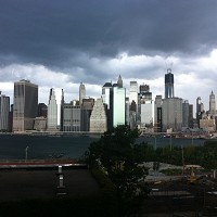 Dark clouds loom over the NYC skyline