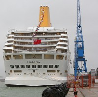 The Oriana docked in Southampton after returning from a 10-night Baltic cruise