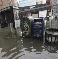 Parts of Manhattan flooded after tropical storm Irene slammed into New York