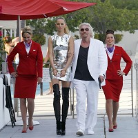 Richard Branson and supermodel/actress Karolina Kurkova launching Virgin's 33rd destination with flights between London and Cancun