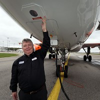 Ian Davies, easyJet's engineering director, points to the area on the plane where the Avoid volcanic sensor is placed