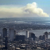 Smoke rises from a marsh fire in New Orleans