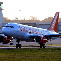 An easyJet flight returning to Bristol Airport after being turned back from Madeira because of bad weather. Passengers were stranded at a hotel in Bristol for 48 hours over Christmas waiting for a flight