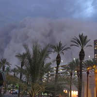 "A dust storm known as a ""habub"" rolls into downtown Phoenix"