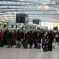 Passengers at Heathrow Airport face delays due to the weather