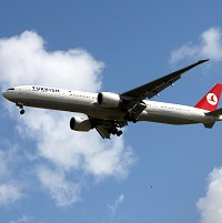 A Turkish Airlines Boeing 777 plane lands at Heathrow Airport, Middlesex. PRESS ASSOCIATION Photo. Picture date: Monday July 20th 2009. Photo Credit should read: Steve Parsons/PA Wire