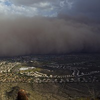 A dust storm rolls through the south Phoenix area in Arizona