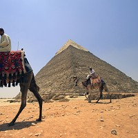 Tourist guides sit on camels as they wait for clients next to the Giza pyramids on the outskirts of Cairo, Egypt