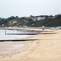 A deserted Bournemouth beach in Dorset.