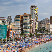 A crowded Spanish beach in Benidorm