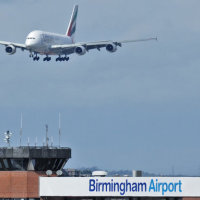 The Airbus A380 prepares to land at Birmingham Airport