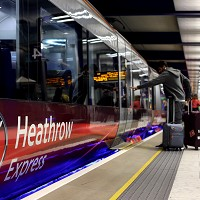 The Heathrow Express train travels between the airport and Paddington