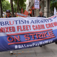 British Airways cabin crew protest outside the Civil Aviation Authority