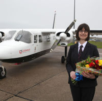 Royal Bank of Scotland flying banker Anne Randall is the millionth passenger of the Orkney Inter-Isles service