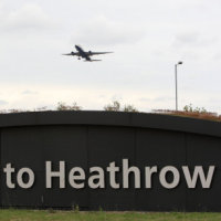 A plane flying out of Heathrow Airport