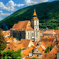 The Black Church in Brasov towers over the city medieval